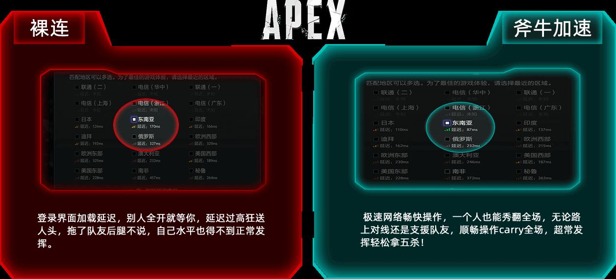 斧牛APEX网游加速器使用前后对比